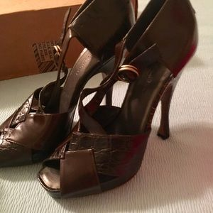 Donna Karan leather strapped heels